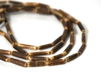 Coconut shell beads, 3mm x 11mm tube, brown rustic boho, full strand (972R)