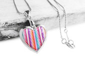 Get 15% OFF - Double Sided - Handmade Resin Colorful Chevron Pattern Silver Heart-shape Locket Necklace - Special 2016 SALE