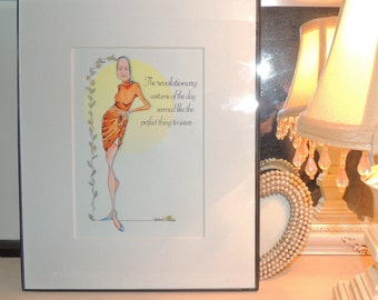 Little Edie Beale art interpretation, original art of Revolutionary Costume of the day framed of a staunch character, fabulous Edie Beale