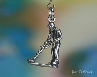Metal Detector Charm Sterling Silver Hobby Beach Combing Prospecting