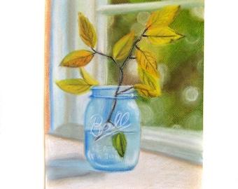 Pastel Painting Print - Mason Jar Art - Spring - Farmhouse Art - Farm Art - Original Art - Country Art - Pastel Painting - Pastel Drawing