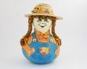 Farmer Girl Gourd Doll, Gourd Art Doll, Folk Art Doll, Primitive Gourd Doll