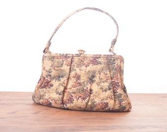 Vintage 1940s Crown Lewis Gold Fleck Tapestry Handbag Clutch