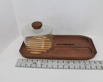 Solid Walnut Cheese and Cracker Tray with Glass dome