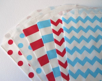 RED AND BLUE Party - Qty 12 - Treat Bag - 5x7 - Favor Bag - The cat and hat - Red and blue - Birthday Party - Baby shower - Fourth of July