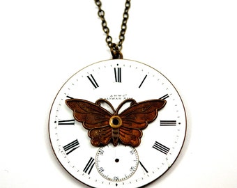 Watch Face Necklace, Steampunk Butterfly Necklace, Enamel Dial, Watch Dial Necklace