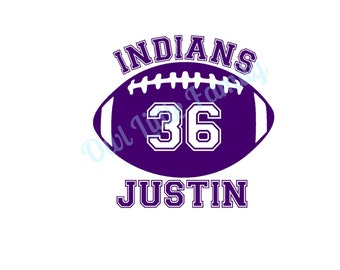 Personalized Football Iron On Vinyl Decal