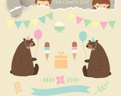 SALE! Vintage Bears, Retro Bears Clip Art Set