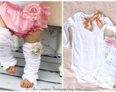 Baby Girl 1st Birthday Outfit Gift Set of 2 Items Ruffle Rose Leg Warmers, Floppy Bow Bodysuit. Pink Roses Gold Polka Dots, Valentine's Prop
