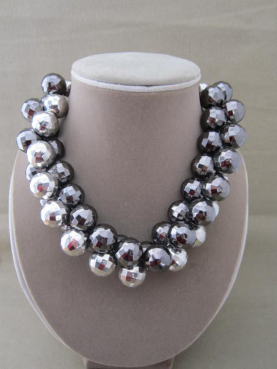 Chunky Silver Charcoal Beaded Strand Necklace