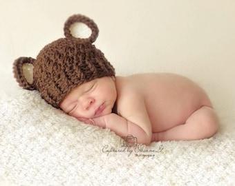Baby Boy Hat, 3 to 6 Months Baby Boy Hat, Baby Boy Teddy Bear Hat, Chocolate Brown with Cream Ears. Newborn Photo Props. Baby Gift. Kids.