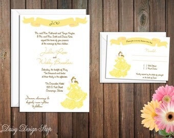 Wedding Invitation - Princess Belle Silhouette in Damask Gown