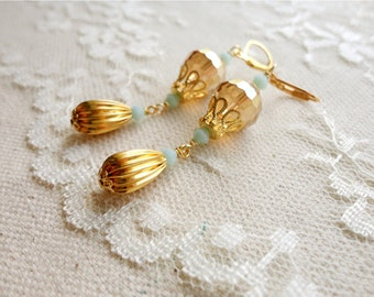 Honey yellow and opaque mint green glass bead dangle earrings, with golden accents, Busier Than A Bee