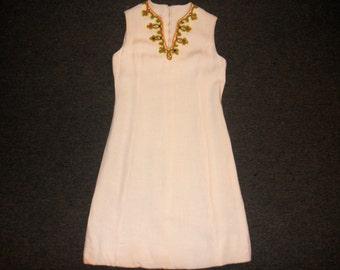 vintage 60s jeweled rhinestone collar white linen party shift dress size medium 7 8