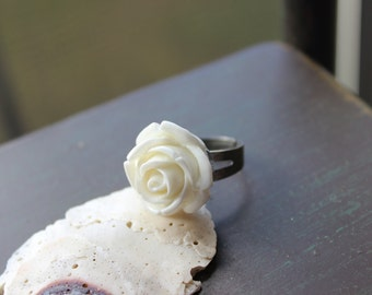 Rockabilly Romantic Day of the Dead White Rose Ring