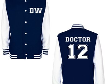 DW DOCTOR 12 Varsity Jacket - FREE Shipping - British Science Fiction (Sci Fi) Fan Geek Baseball Jacket