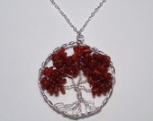 Summer Sale! Genuine Amber Chips Tree of Life Pendant