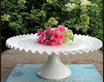 Cake Stand / Vintage Milk Glass Hobnail Cake Stand/ Fenton Cake Stand/ My Dreamy Milk Glass Wedding Decor