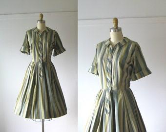 vintage 195s dress / 50s dress / Minty Stripes