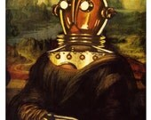 Digital Print, Mona Lisa, Robot, Robot Art, Leonardo Da Vinci, Mechanical Man, renaissance, classical art, geekery, alternate histories
