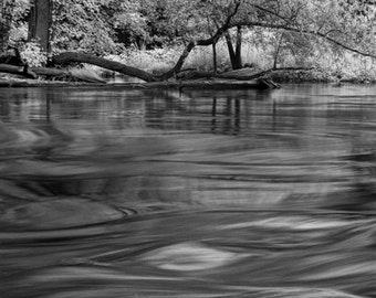 Thornapple River Flowing Water by Alaska Michigan No.38BW A Black and White Infrared River Scenic Landscape Photograph