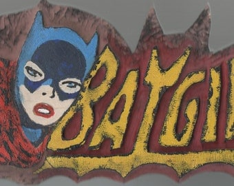 Batgirl carved & painted, custom wood sign, wall sculpture, vintage superhero, DC comics, 3rd wallart, wooden wall art, Made To Order
