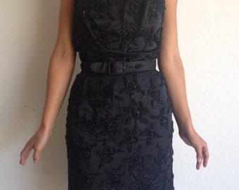1960's // Black Rosette Silk Satin Cocktail Dress // LBD