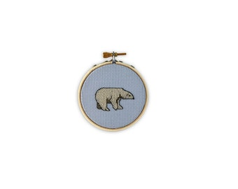 Polar Bear Cross Stitch (finished and framed in embroidery hoop)