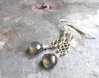Labradorite Earrings Celtic Sterling Silver Gemstone Earrings Gray Blue Dangle Briolette Earrings