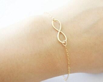 Gold Infinity Bracelet 14 K Gold Filled Simple Hammered Dainty Bracelet Wedding Bridesmaids Gifts Bridal