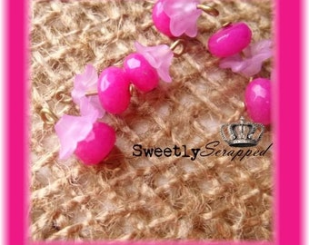 6 Pink Stone Flower Beaded Charms, Dark Pink, Magenta, Frosted, Antique Bronze Wire, Bead