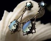 Aqua Blue Frost Vintage German Crystal Drop Antiqued Bronze Filigree Earrings Steampunk Jewelry Antique Vintage Victorian Bridal Style