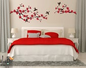 Cherry Blossom branch wall decal with birds, bedroom, nursery, kids room, office decor