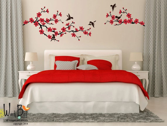 Cherry blossom branch wall decal with birds by for Cherry blossom bedroom ideas