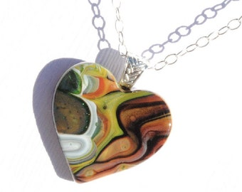 Heart Pendant, Fused Glass Jewelry, Earth Tones, Love, Woodland, Bohemian, Rustic, Brown, White, Green, Rust (Item 10619-P)