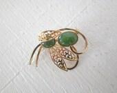 Vintage Jade Brooch Gold Tone Green Jade Mid Century Asian Jewelry GallivantsVintage