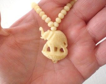 Vintage Carved Ox Bone Choker Necklace Elephant Bead Necklace Mid Century Asian GallivantsVintage