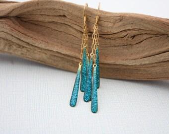 Blue Earrings, Sparkle Earrings, Gold Chain Earrings, Glittery Earrings, Sparkly Earrings, Sparkling Earrings, Sparkly Jewelry, Bling 006
