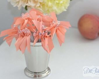 Coral Peach Satin Ribbon Cocktail Stirrers - 25 count - Drink Stirrers Clear Stir Sticks