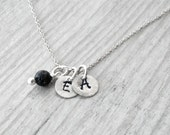 Unisex Personalized Initial Charms Necklace, Custom Monogram Silver Round Charm and Black Lava Rock Charm, Greek Letters, Personalized Gift