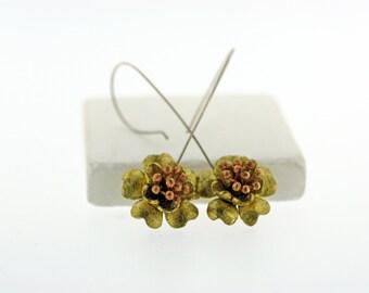 Gold Flower Earring, Drop Flower Earrings, Flower Jewelry, Boho Flower Earrings, Lightweight Earrings, Trending Earrings, Flower Jewelry