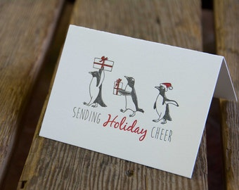 6 pack Penguin Holiday Card, letterpress printed, penguins and presents, eco friendly