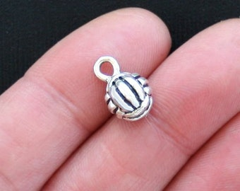 4 Volleyball Charms Antique  Silver Tone 3D - SC2674