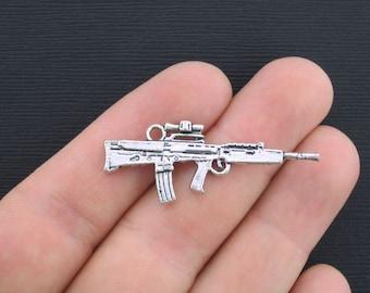 4 Machine Gun Charms Antique Silver Tone 2 Sided - SC3150