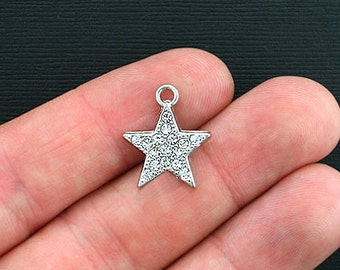 4 Star Charms Antique Silver Tone with Beautiful Inlaid Rhinestones - SC3451