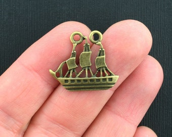 8 Ship Connector Charms Antique Bronze Tone - BC1026