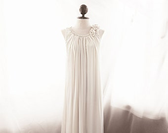 SALE Rehearsal Dinner Dress Jazz Age Off White Gown Cathedral Wedding 1920s Ivory Cocktail Pearl Rosette Cream Grecian Elven Flowy Angel Fae
