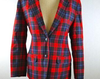 Pendleton Tartan Plaid Wool Pocketed Blazer