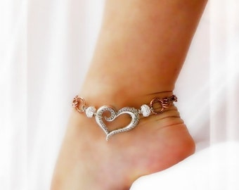 Southwestern Kinda Love Anklet Double Chain Fusion Copper Silver Ankle Bracelet