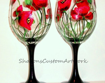 Handpainted  Red Poppies Set of 2 / 20 oz. Wine Glasses Hand Painted Red Poppies